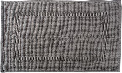 DII 100% Cotton Jaquard Luxury Hotel & Spa Banded Bath Mat for Bathroom, Tub, and Shower, 20x31 - Bordered Gray
