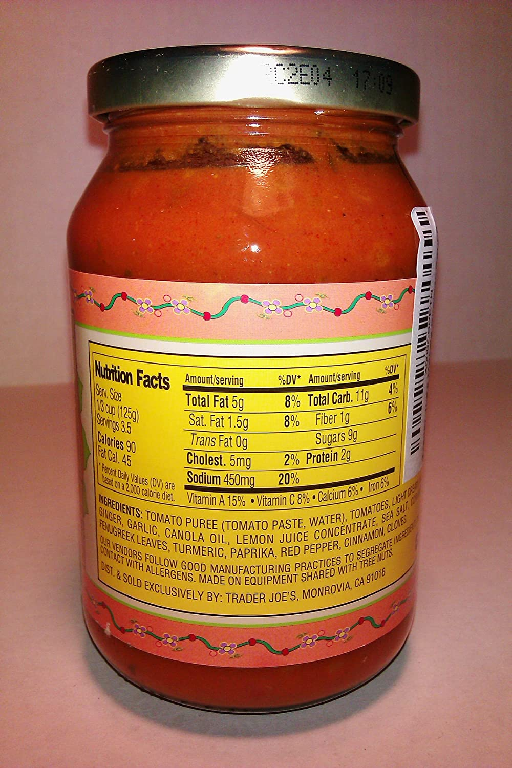 trader joe's yellow curry sauce nutrition