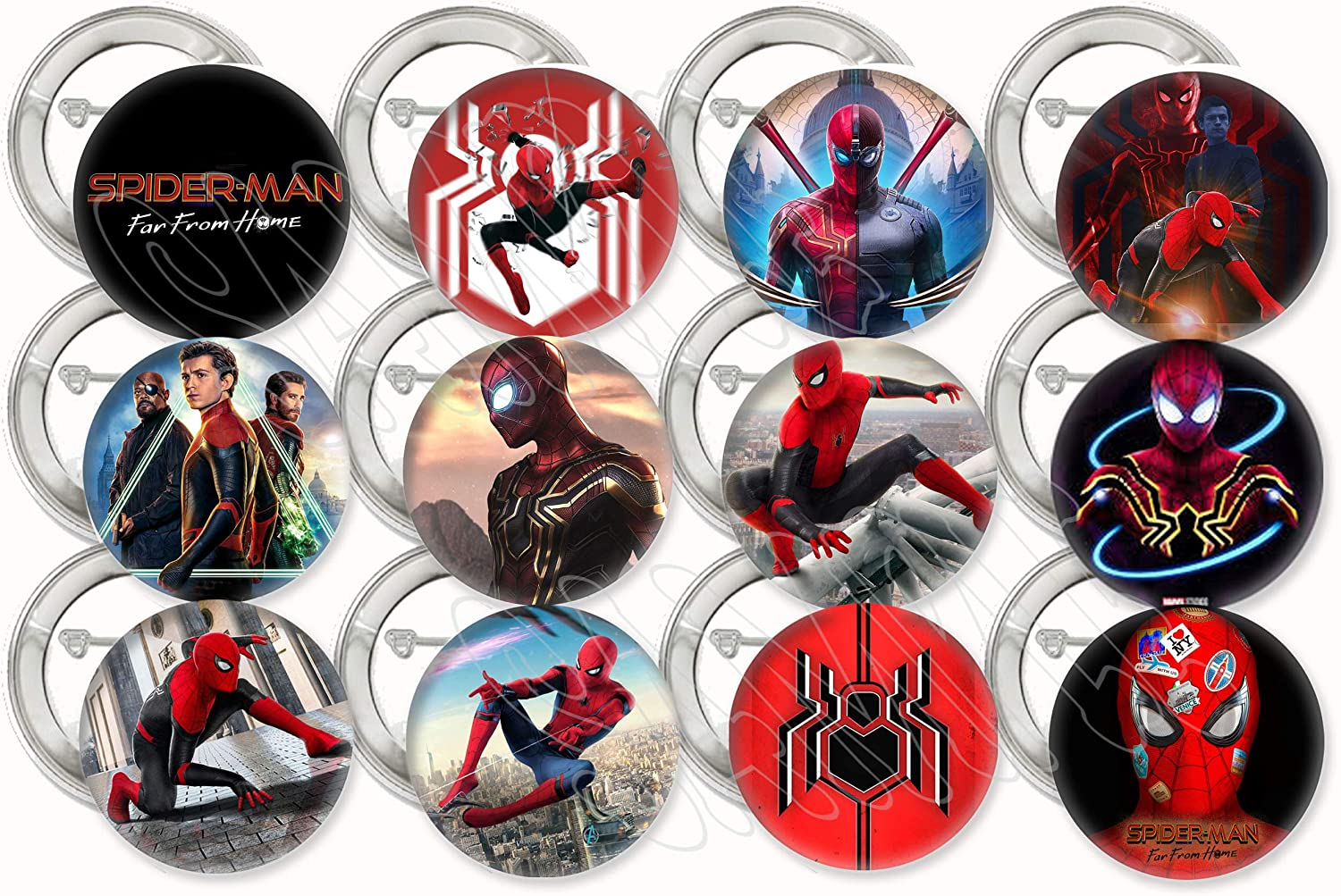 """Spiderman Far from Home Movie Buttons Party Favors Supplies Decorations Collectible Metal Pinback Buttons Pins, Large 2.25"""" -12 pcs Avengers Comics Super Hero"""