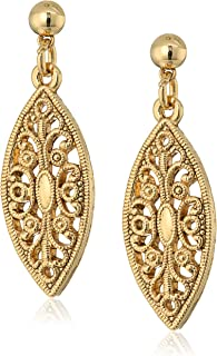 product image for 1928 Jewelry 14K Gold-Dipped Filigree Post Drop Earrings