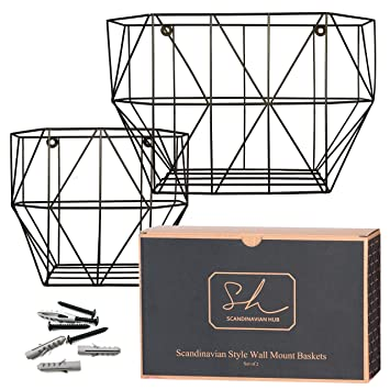 Amazon Com Scandinavian Hub Wall Mounted Wire Basket Farmhouse