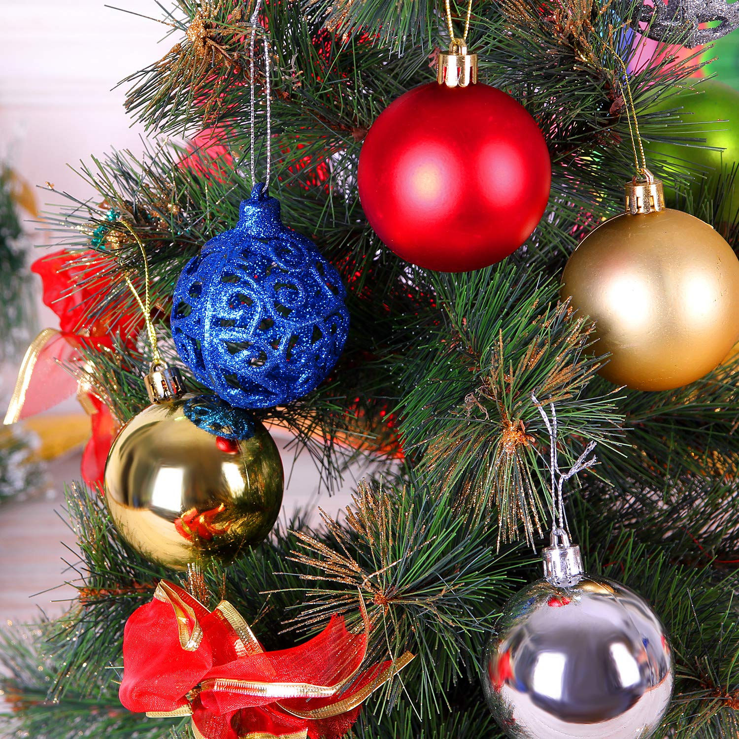 Atopsell 24ct 2.36 Decorations Balls Shatterproof Plastic Decorations Ornaments 4 Color Decorations Tree Balls for Outdoor Indoor Party Decoration with 3 Styles,Red Blue Gold Silver