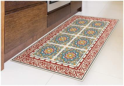 Amazoncom Tiva Design Barcelona Red Vinyl Floor Mat Decorative