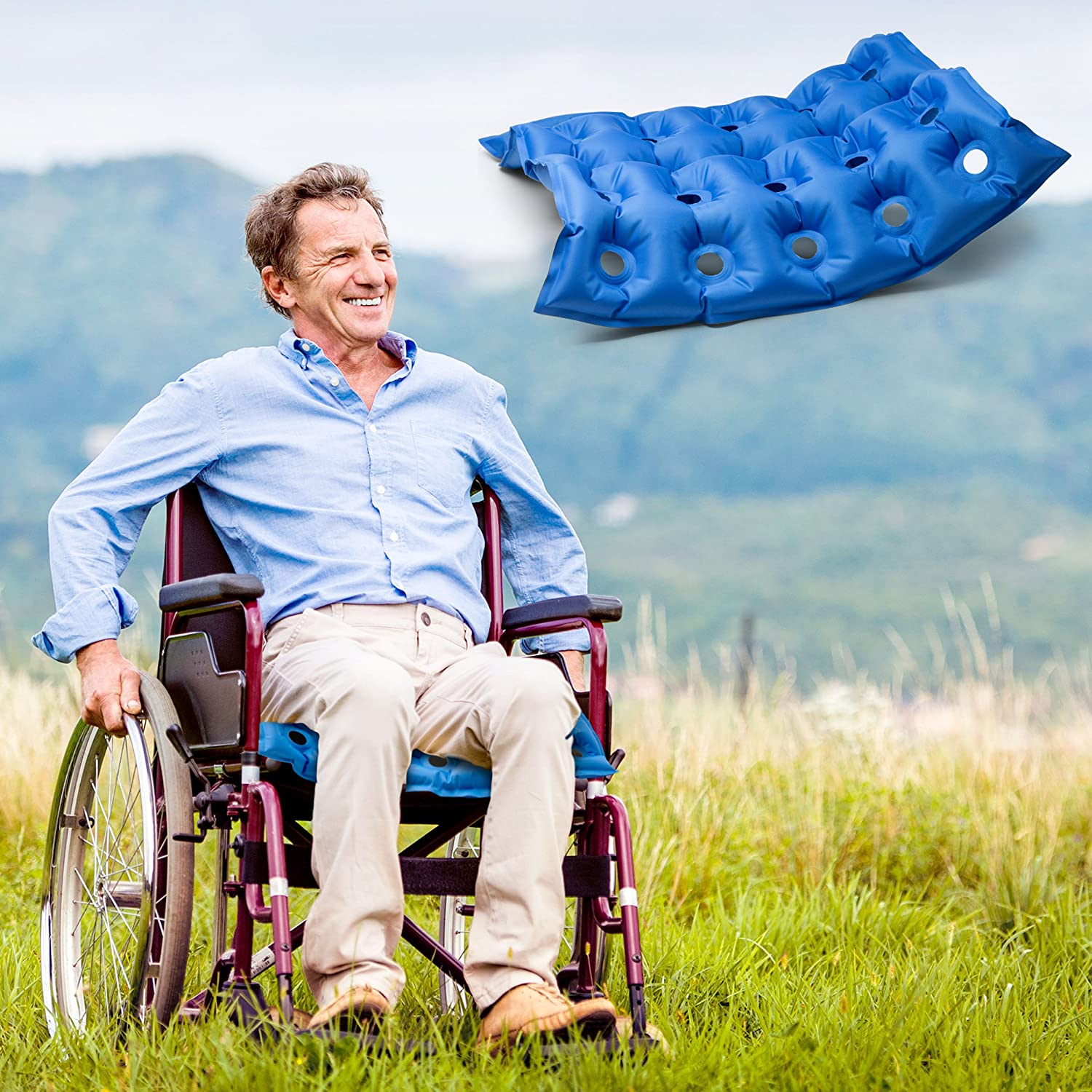 People sitting in waffle chair - Amazon Com Comfycloud Medical Inflatable Waffle Seat Cushion Seat Cushion For Wheel Chair And Prolonged Sitting Health Personal Care