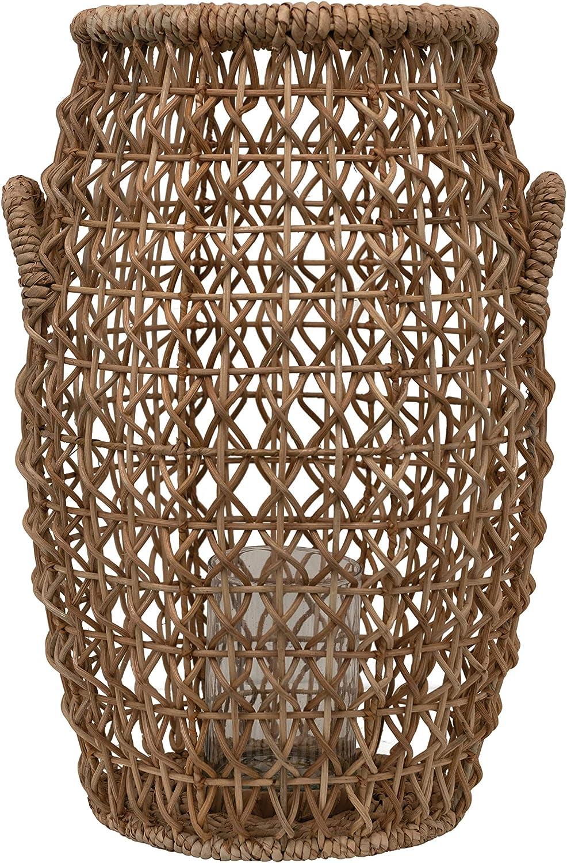 Bloomingville Brown Rattan & Water Hyacinth Glass Insert Lantern, Natural