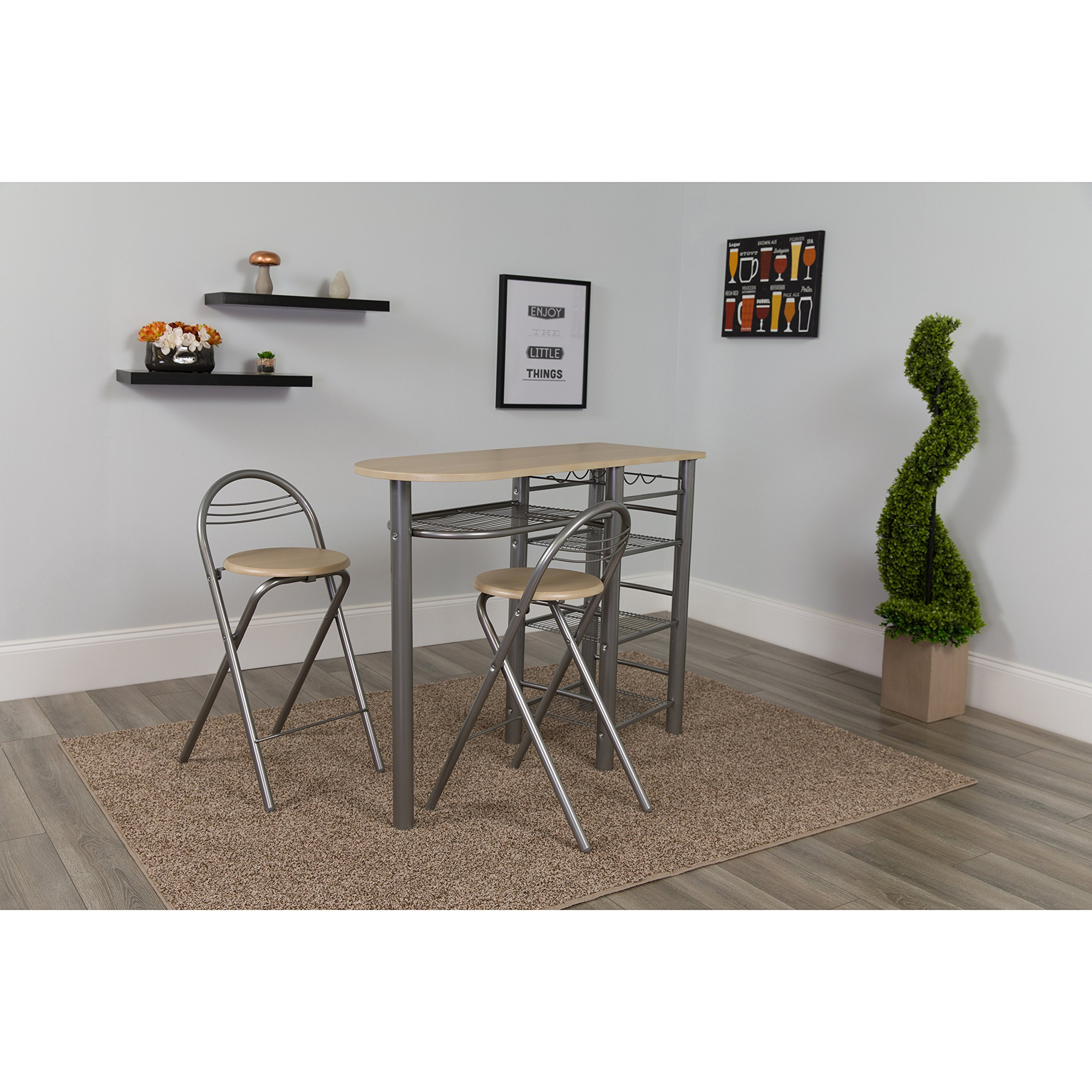 Flash Furniture Carnegie 3 Piece Space-Saver Natural Finish Bistro Set with Wine Rack, Shelving and Folding Chairs