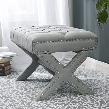 fabric x bench chrome base upholstered and modern gray stool footrest f products ottoman large accent