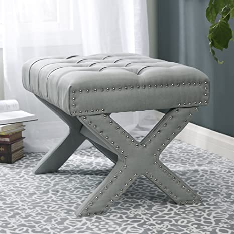 Incredible Inspired Home Louis Linen Button Tufted Silver Nailhead Trim X Leg Ottoman Light Grey Caraccident5 Cool Chair Designs And Ideas Caraccident5Info