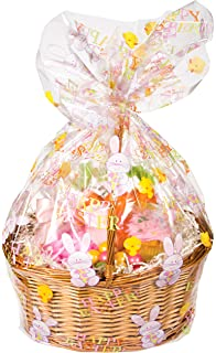 Amazon easter basket bags 12 pack 17 34 cellophane arts creative converting cello basket bag happy easter negle Images