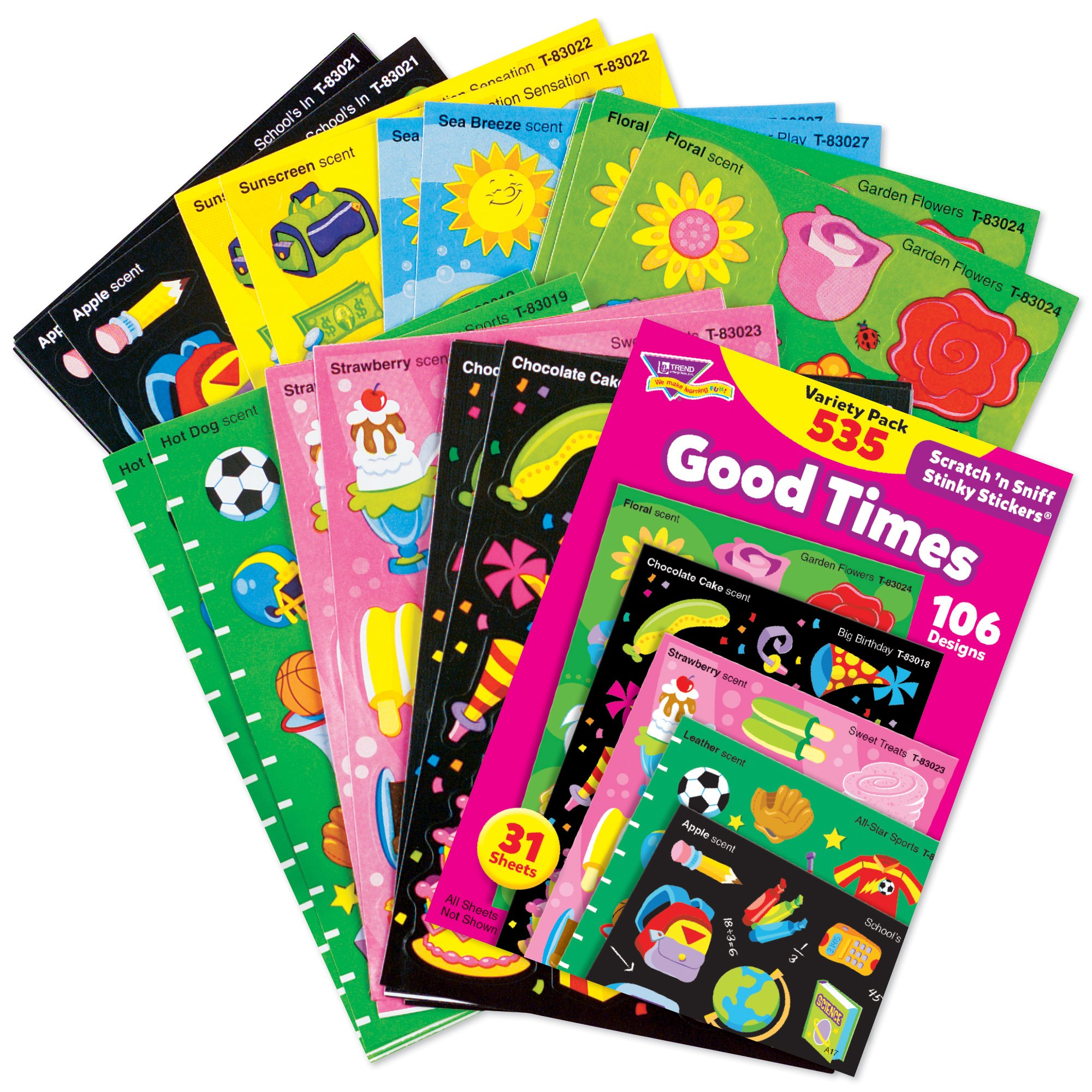 Trend Enterprises Stinky Sticker Mixed Shaped Good Times Jumbo Variety Pack Sticker, 3/4 in, Pack of 535