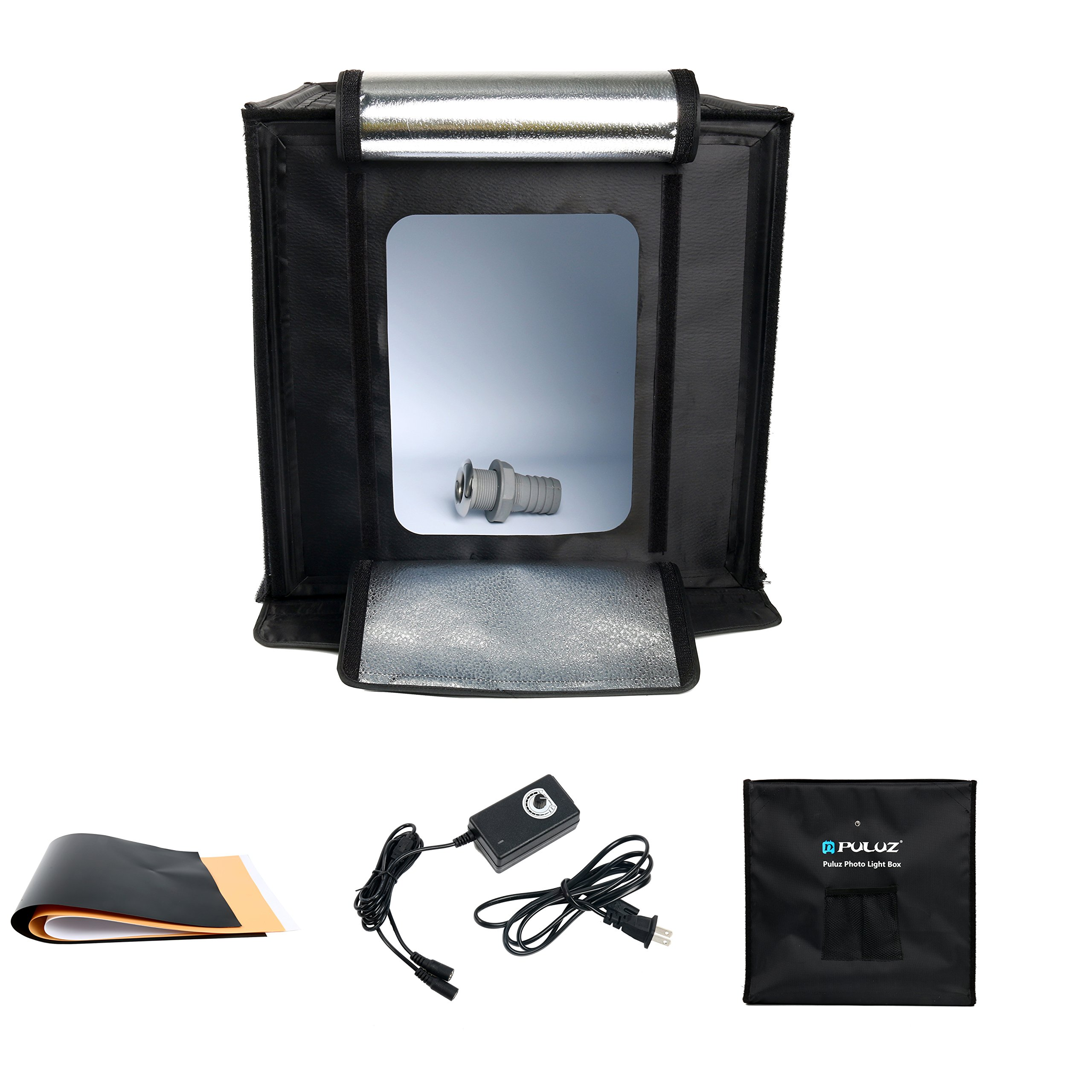 PULUZ Portable Photo Studio Box, PULUZ 16 inch 40cm Portable Photography Light Tent, Professional Folding Shooting Lighting Soft Box with 2x30 LED Lights & Three-Color Backdrops for Product Display