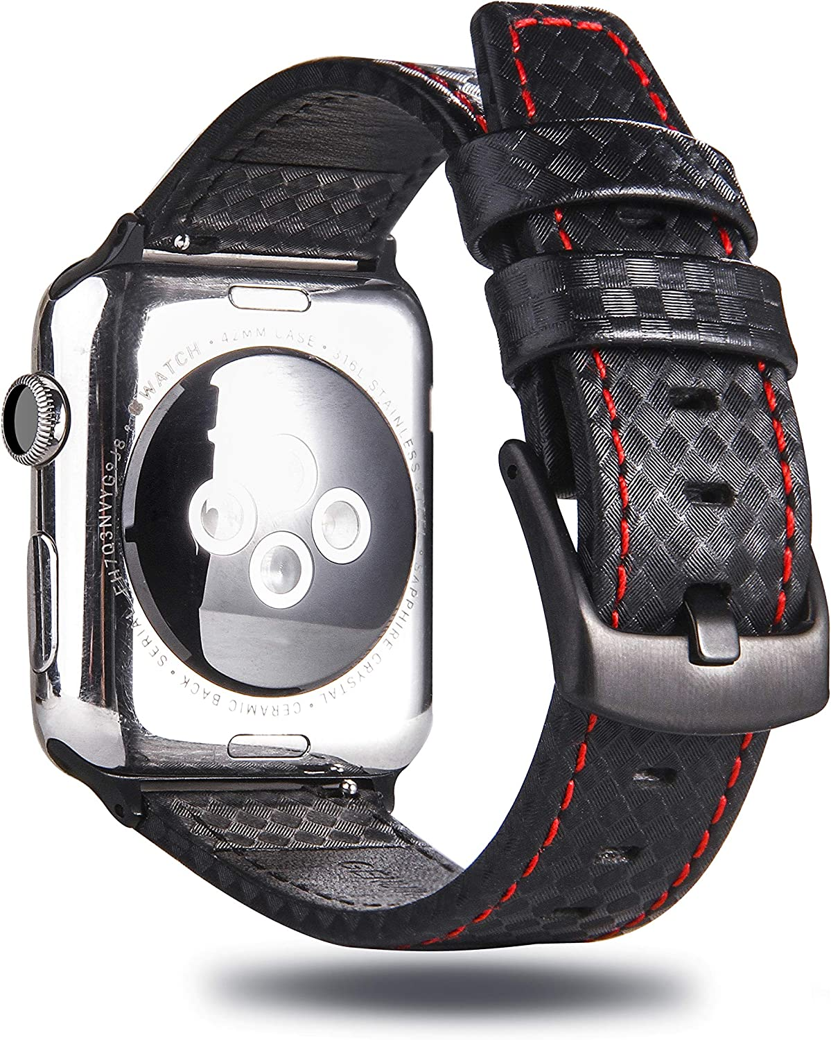 MeShow TCSHOW 44mm 42mm Genuine Leather Carbon Fiber Embossed Pattern with Red Stitching Strap Wrist Band with Secure Metal Clasp Buckle Compatible for Apple Watch Series 5/4(44mm)/Series 3/2/1(42mm)