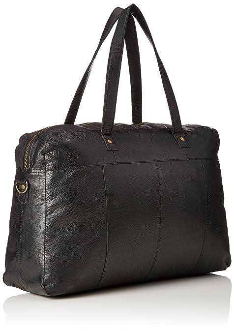 Pieces Pcmusta Leather Travel Bag, Sacs portés épaule femme, Schwarz (Black), 13x34x49 cm (L x H P)