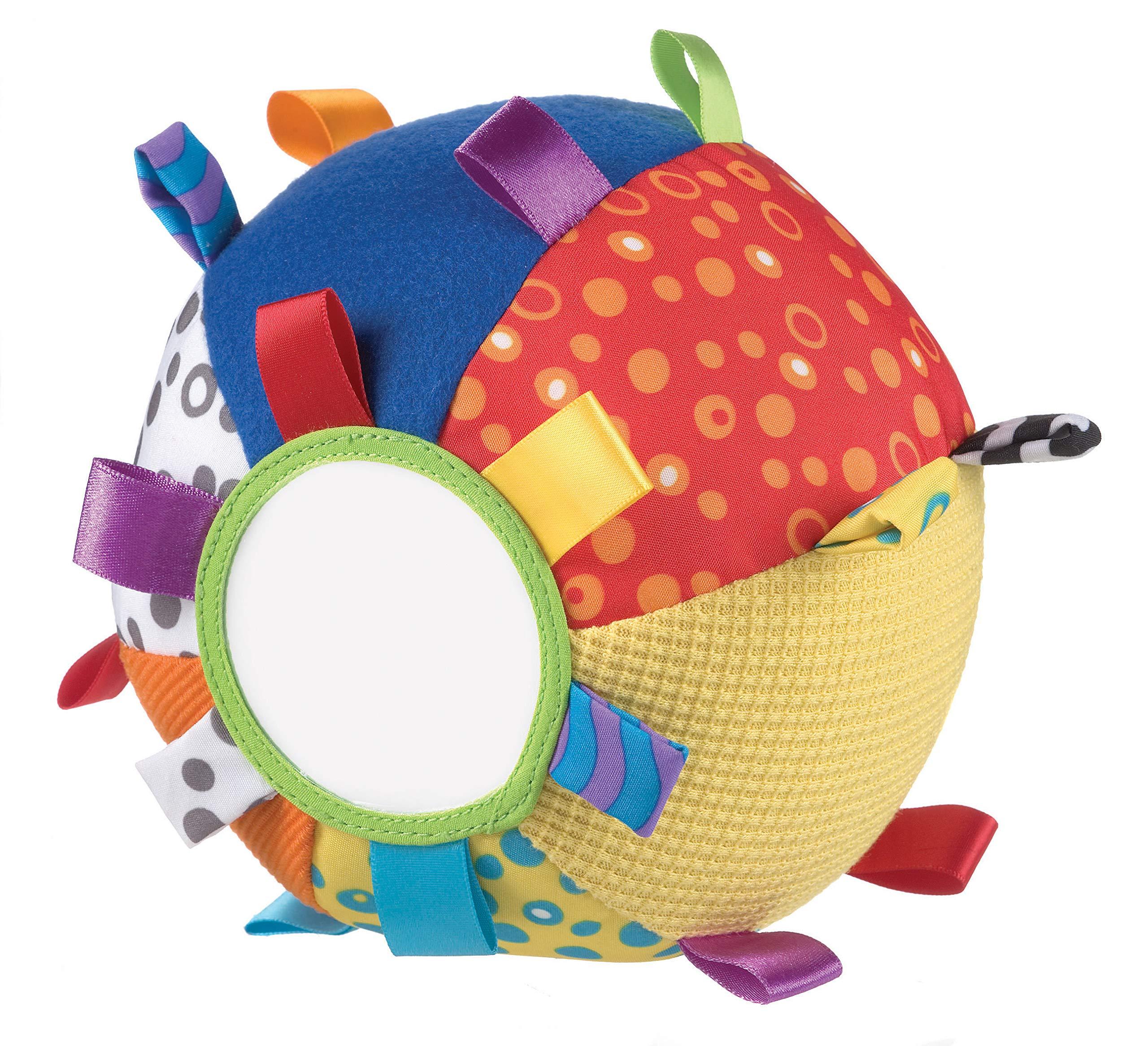 Playgro 0180271 - Pelota de tela con texturas, espejo, etiquetas y sonajero product image