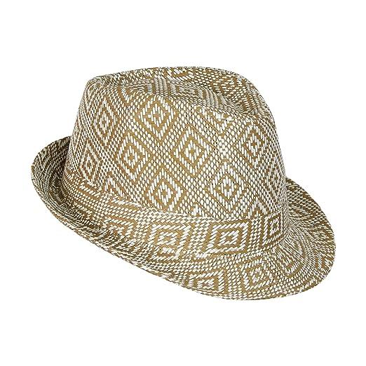 Boho Geometric Design Straw Fedora- Woven Diamond Pattern Trilby Hat Camel 5ba288cfe800