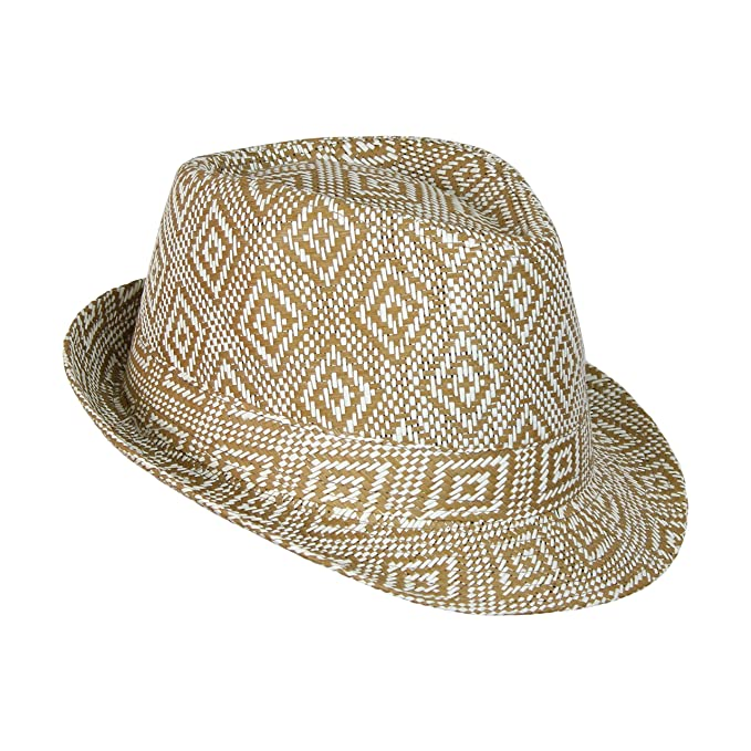 595baeb1d0d Boho Geometric Design Straw Fedora- Woven Diamond Pattern Trilby Hat Camel
