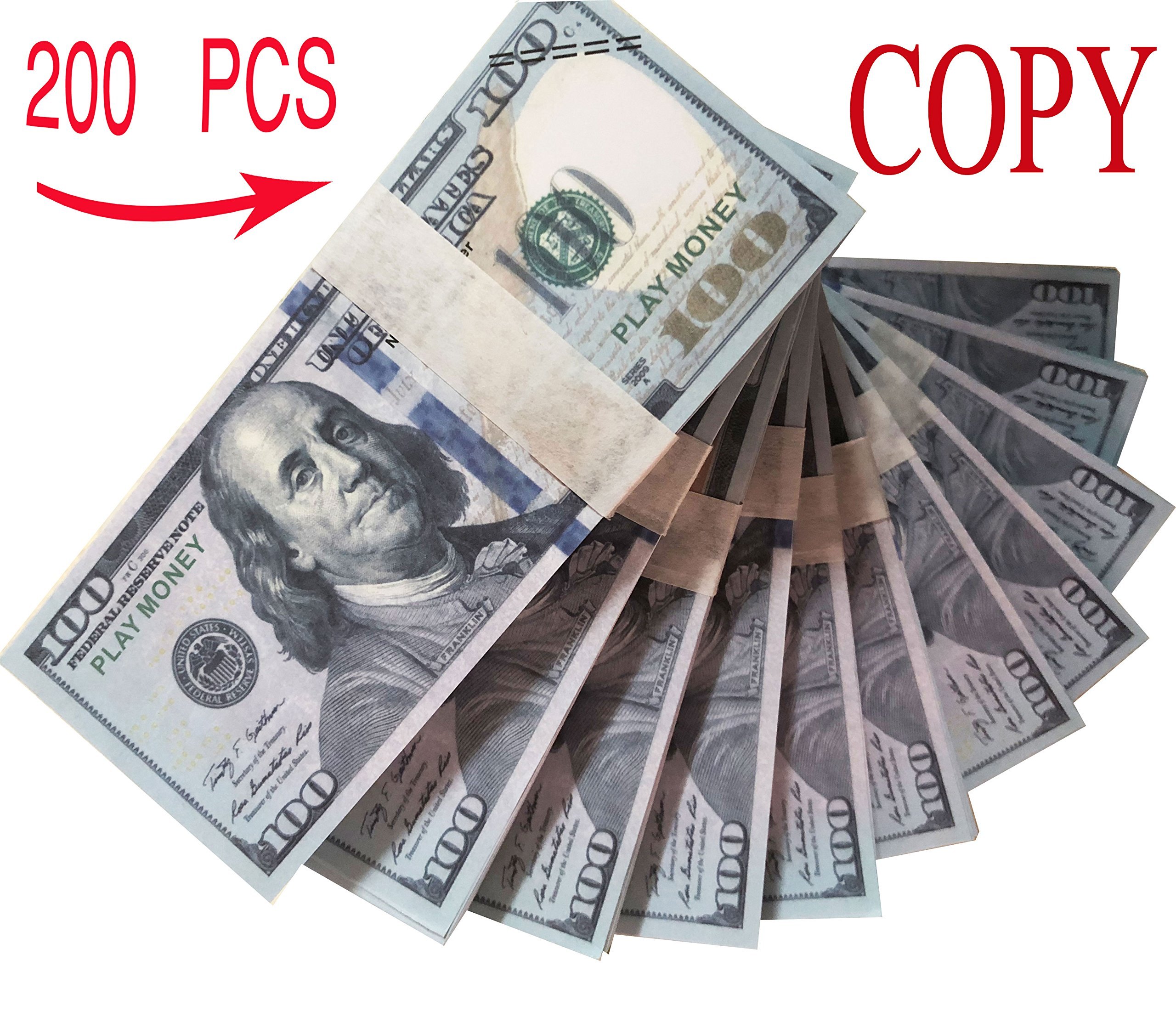 WLIFE Motion Picture Money Movie Prop Money Full Print 2 Sided 2 x $10000, Shipment from US,$100 Dollar Bills Stack Copy Money Fake Money That Looks Real Realistic Money Stack Published Thickening