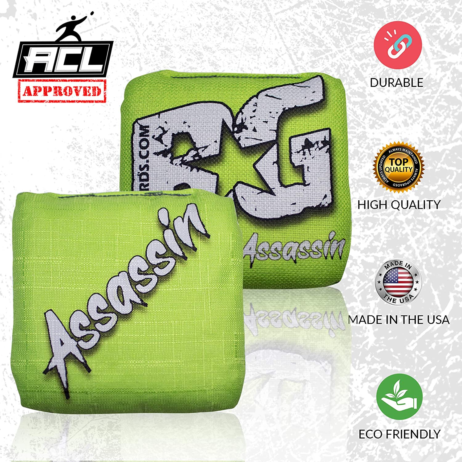 Double Sided Made in USA Set of 4 Bags- ACL Approved BG Bags Cornhole Eco Friendly Resin Filled Assassin Series