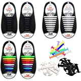 3 Pairs Lazy No Tie Silicone Shoelace for Kids and Adults, Oumers Rubber Tieless Elastic Slip Sneaker Shoelace Running Shoelace Athletic Shoe laces (1 pair Black + 1 pair White + 1 pair multicolor)