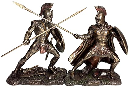 Achilles vs Hector Battle of Troy Greek Mythology Statue Antique Bronze  Finish