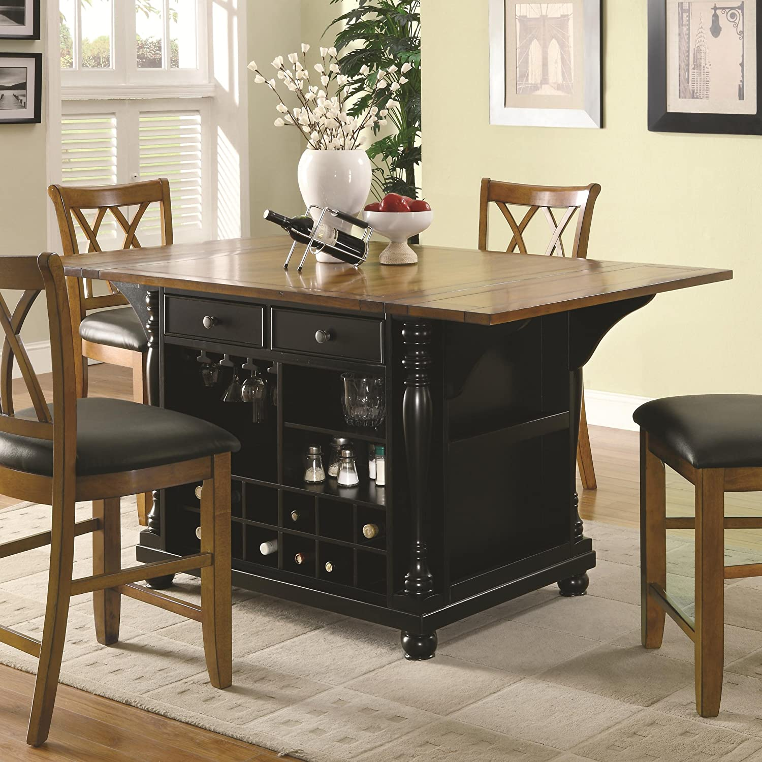 Amazon com coaster 102270 co furniture piece cherry black kitchen dining