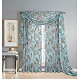 Window Elements Ashville Printed 216 x 54 in. Sheer Curtain Scarf, Blue