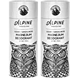 Alpine Provisions Magnesium Deodorant, Cedar + Sandalwood, Pack of 2 (Plastic Free)