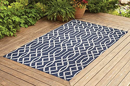 Benissimo Indoor Outdoor Rug Ribon Collection, Natural Sisal Woven and Jute Backing Area Rugs for Living Room, Bedroom, Kitchen, Entryway, Hallway, Patio, Farmhouse Decor 4×6, Navy