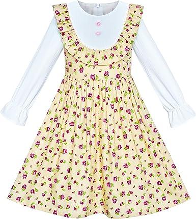 Sunny Fashion Vestido para niña Rosa Flor Manga Larga Algodón ...