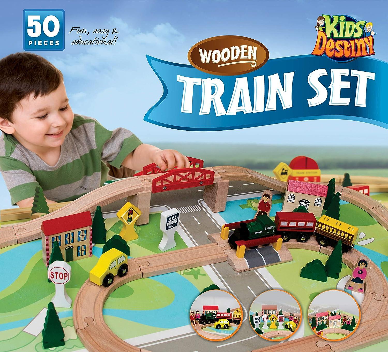 Amazon Kids Destiny Wooden Train Set for Thomas and Brio 50