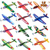 Kissdream 12 Pack 8 Inch Glider Planes - Birthday Party Favor Plane, Great Prize, Handout / Giveaway Glider, Flying…