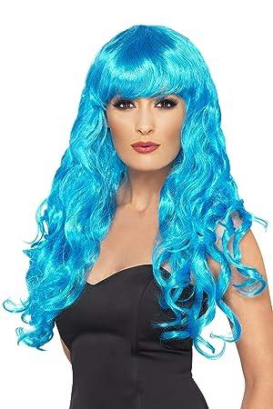 SmiffyS 42260 Peluca De Sirena, Larga, Rizada Con Flequillo, Azul, Tamaño Único