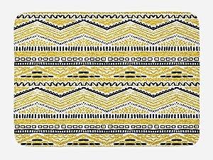"Ambesonne Yellow and Black Bath Mat, Prehistoric Design with Zig Zag Lines Stripes Chevron, Plush Bathroom Decor Mat with Non Slip Backing, 29.5"" X 17.5"", Yellow White"