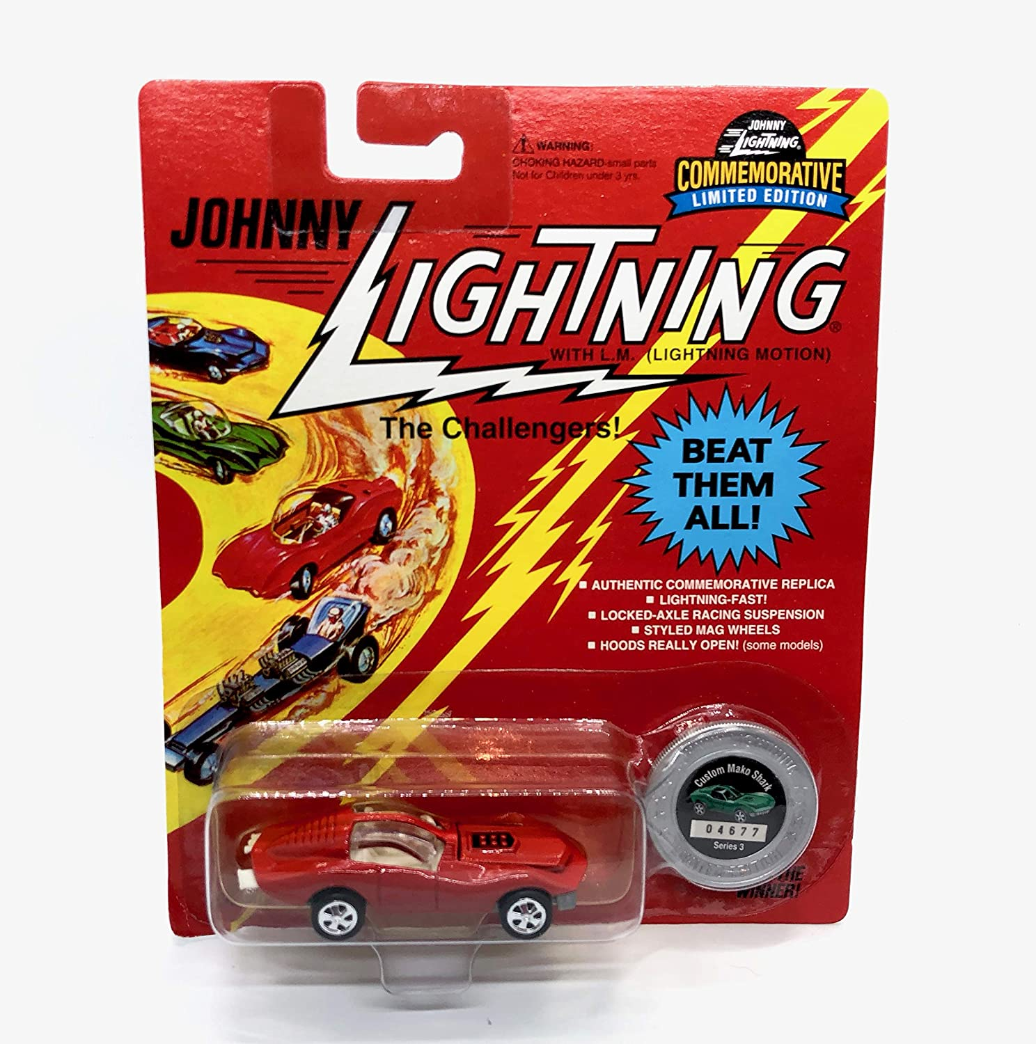 Johnny Lightning Custom Mako Shark (Red) Commemoratives Series 3 Limited Edition 1995 Playing Mantis 1:64 Scale Die Cast Vehicle