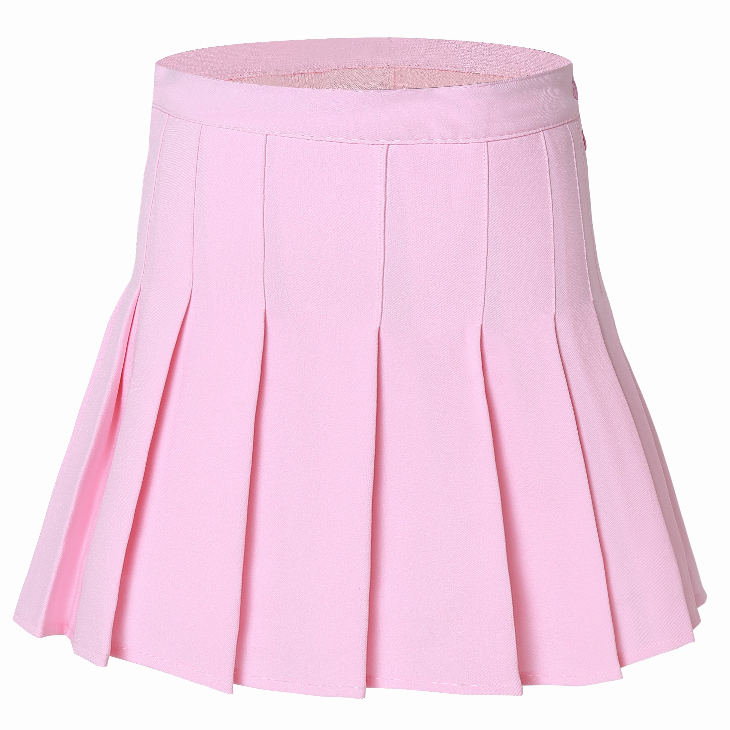 Tremour Women'Solid Pleated Plus Size Sport Tennis Skirts Pink L