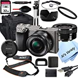 Sony Alpha a6000 (Graphite) Mirrorless Digital Camera with 16-50mm Lens + 32GB Card, Tripod, Case, and More (18pc Bundle…