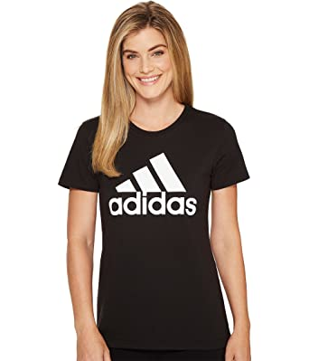 0abf1f8431a0 adidas Badge Of Sport Logo Tee (Womens) (S, Black/White) at Amazon Women's  Clothing store: