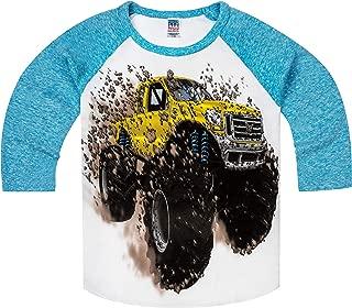 product image for Shirts That Go Little Boys' Big Yellow Monster Truck Raglan T-Shirt