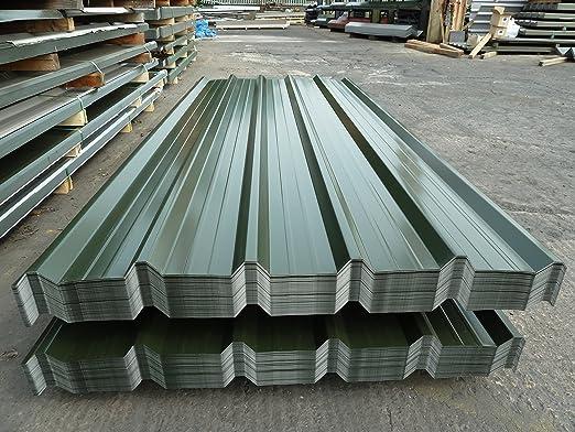 Panel metálico para tejado, chapa de acero recubierto de poliéster verde, juego de 10 paneles de tejado Rhino Steel Cladding 01675 462692: Amazon.es: Jardín