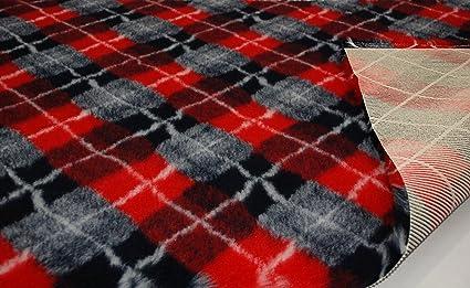 CRS Fur Fabrics Profesional Antideslizante Veterinaria Perro Cachorro Mascota Cama Diamond Check – Rojo