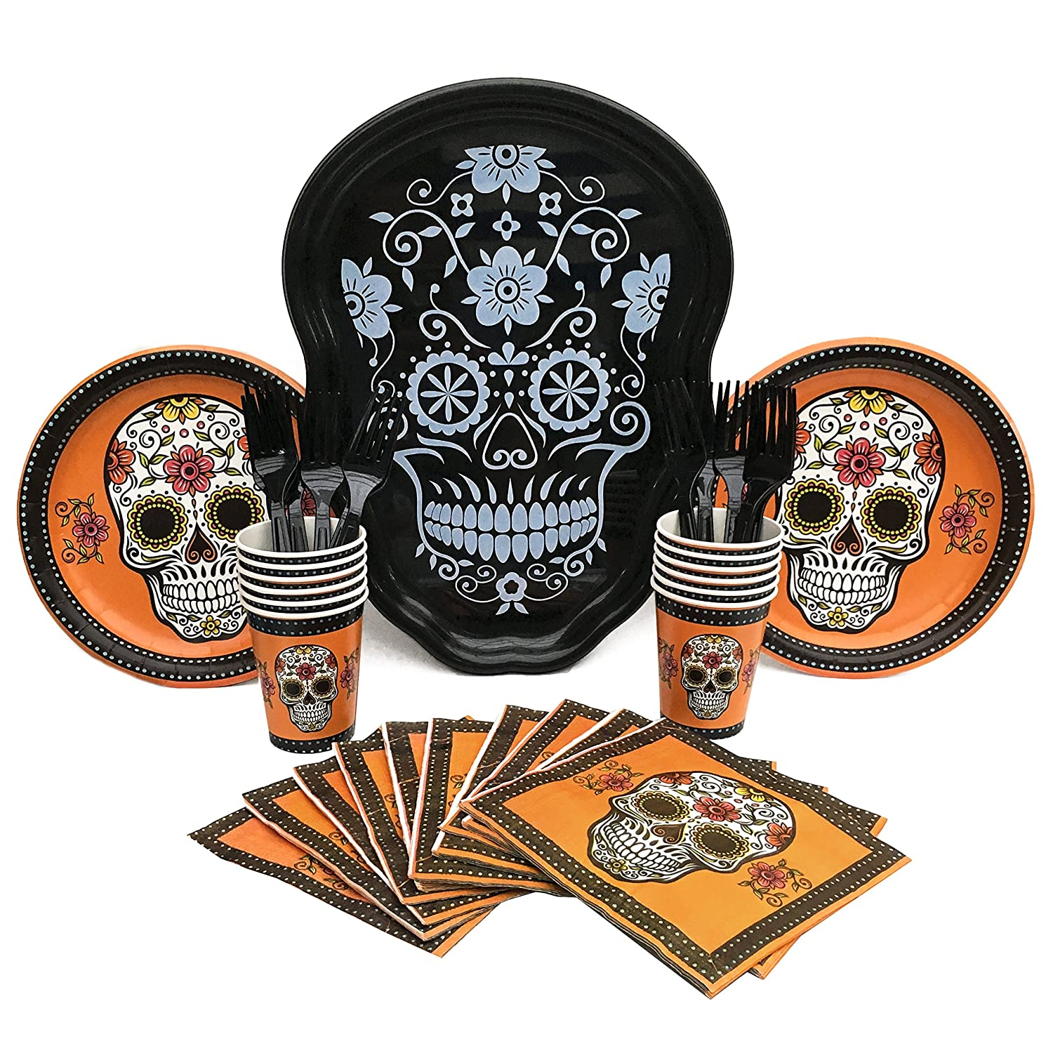 Halloween Party Supply Bundle with Plates, Cups, Napkins, Forks ...