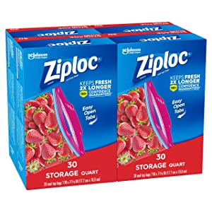 Ziploc Storage Bags, Quart, 4 Pack, 30 ct (120 Total Bags)