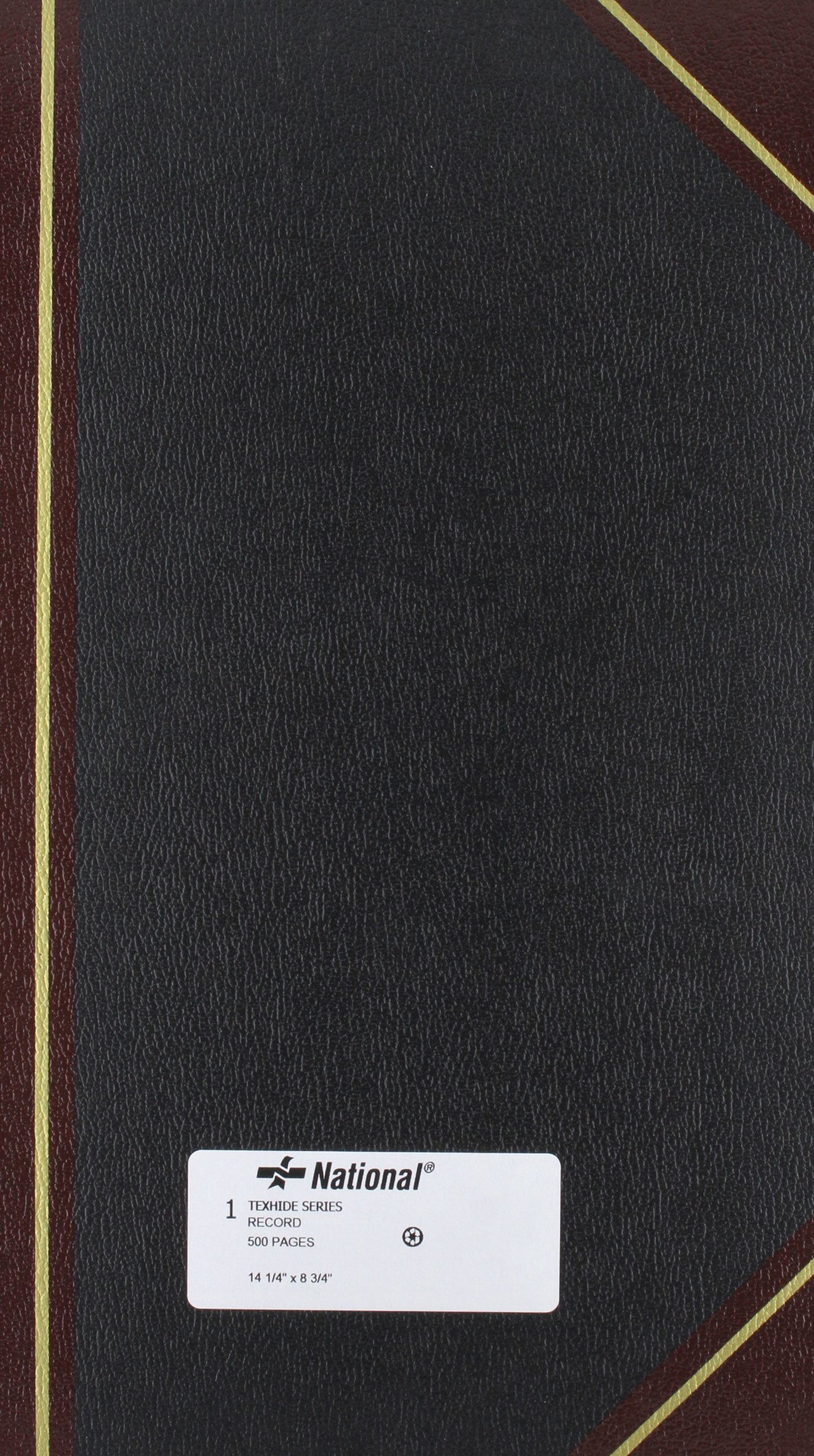 NATIONAL Texhide Series Record Book, Black, 14.25'' x 8.75'', 500 Pages (57151) by National
