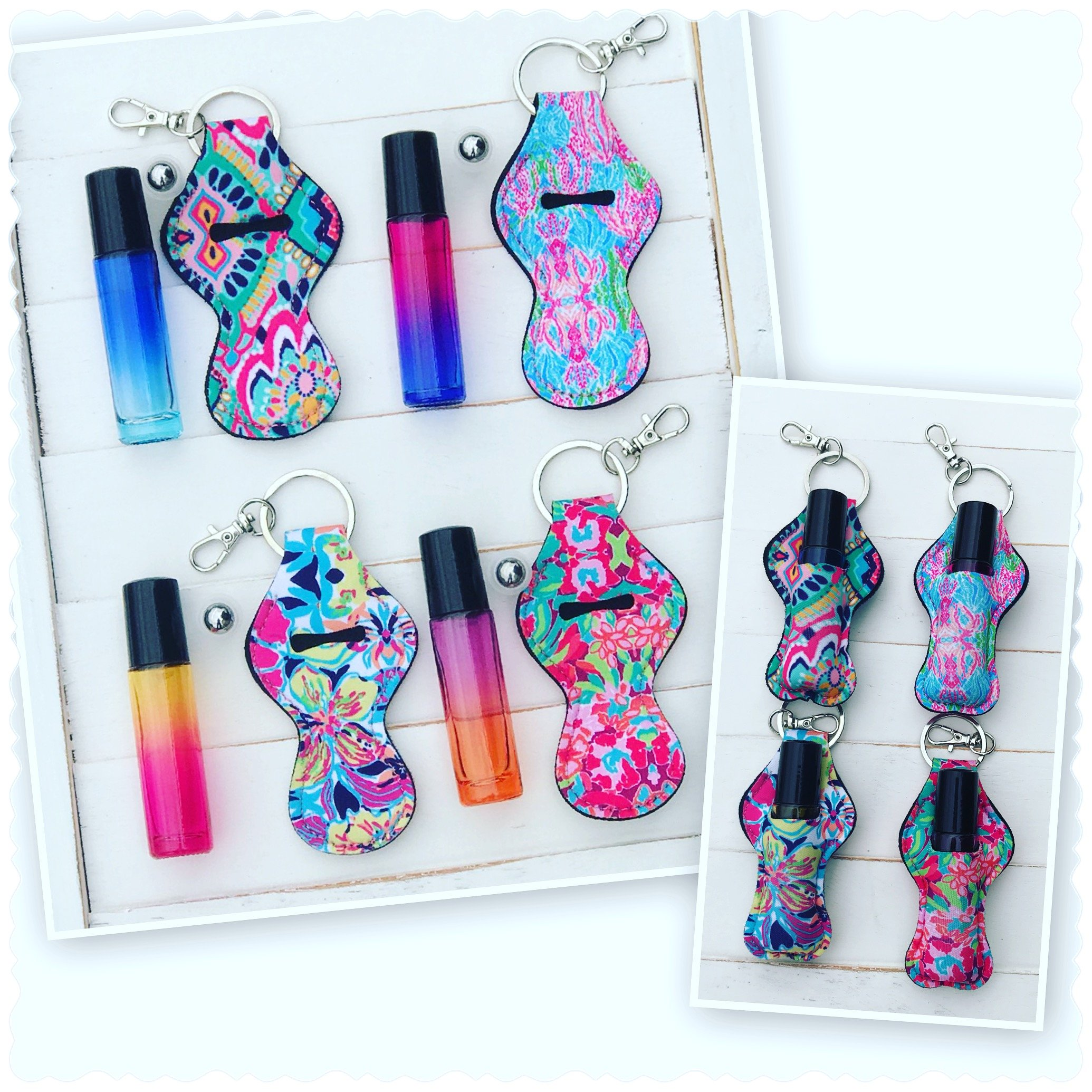 SET OF 4 OMBRE 10ML GLASS ROLLER BOTTLES STAINLESS STEEL ROLL-ON BALLS MATCHING LILLY PATTERN FLORAL NEOPRENE CARRYING KEYCHAIN CASES CLIP-ON KEY RING