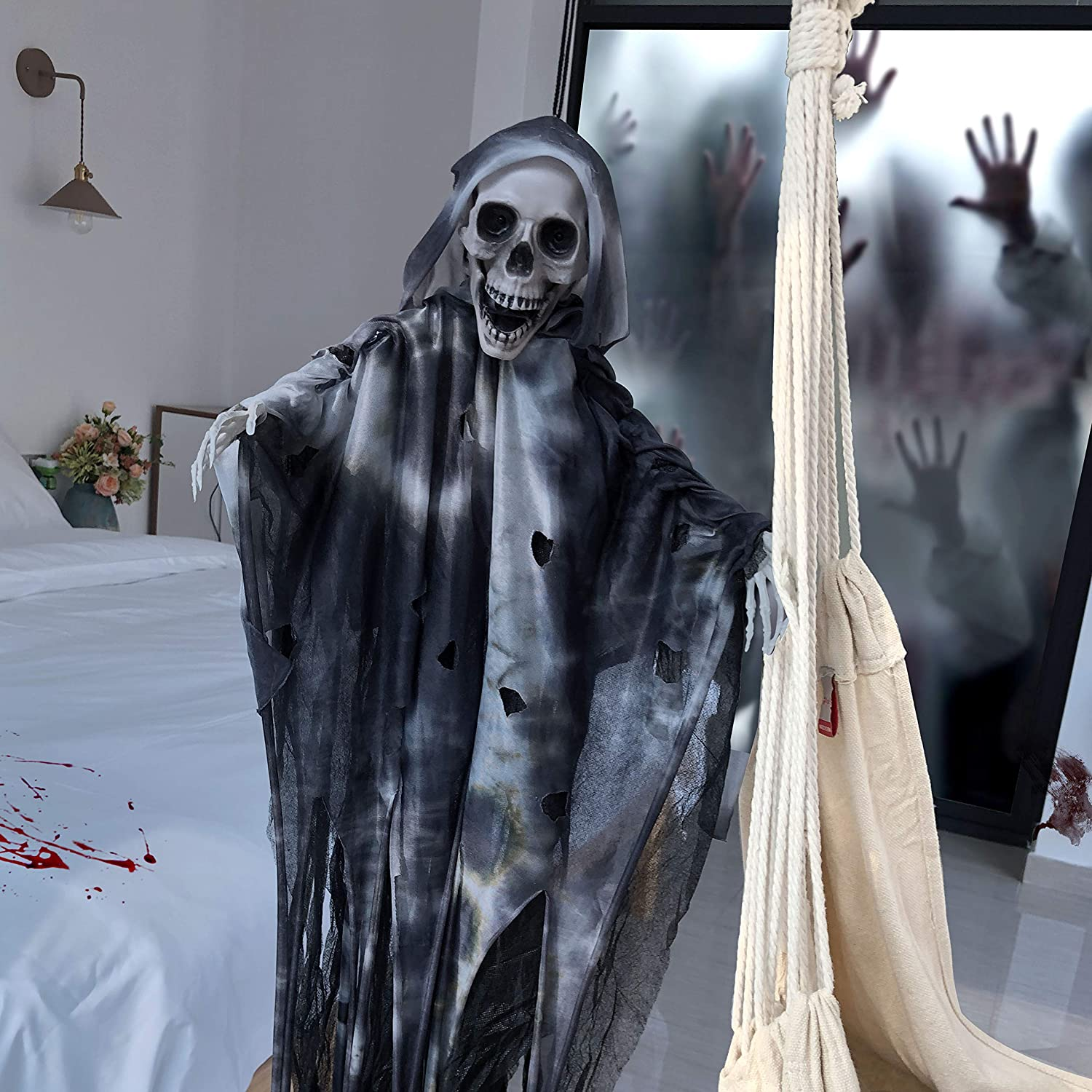 4ft//122cm Tall XONOR Hanging Animated Sound and Touch Activated Talking Skeleton Ghost Halloween Decoration with Glowing Red Eyes