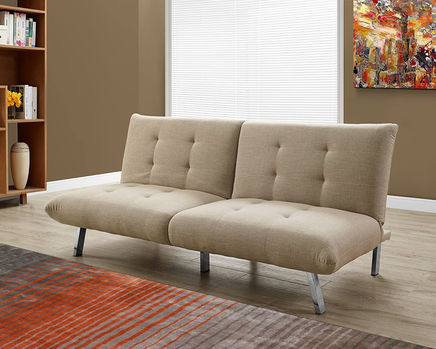 Monarch Specialties I 8969 Split Back Click Clack Sand Linen Futon, 71