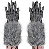 Skeleteen Werewolf Hand Costume Gloves - Grey Hairy Wolf Claw Hands Paws Monster Costume Accessories for Kids and Adults
