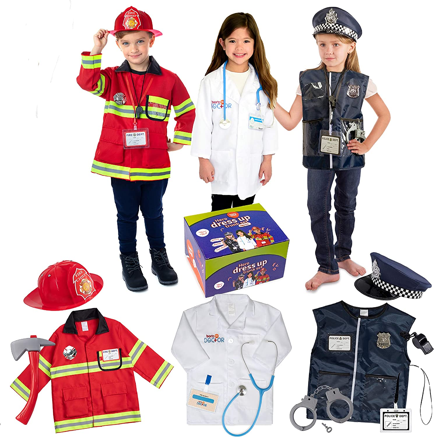 Born Toys Premium 7pcs Costume Dress up set for kids ages 7-7  fireman,police costume, and doctor all sets are washable and have  accessories