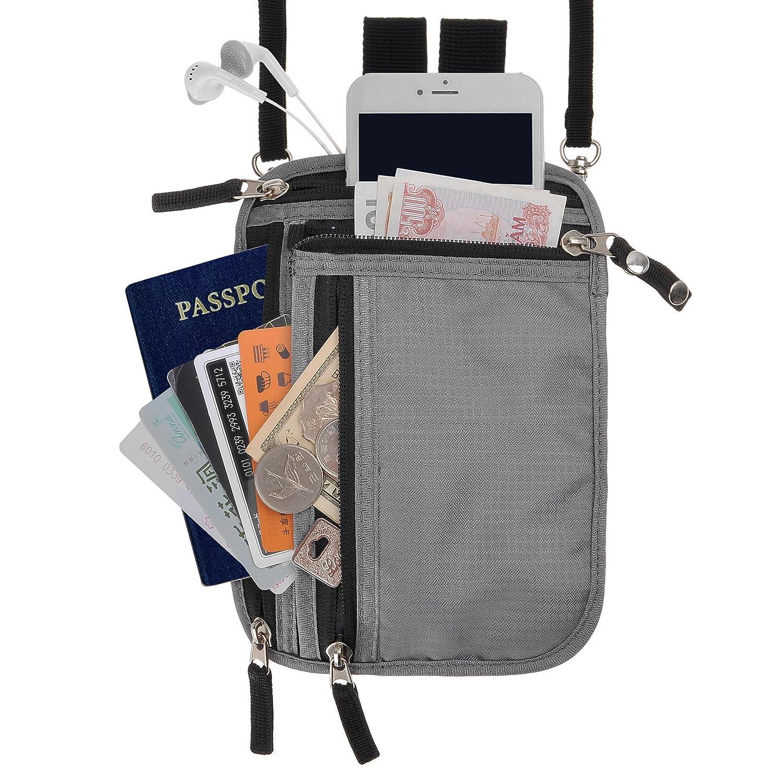 RFID Blocking 2-in-1 Travel Neck Stash and Belt Wallet Security Hidden Passport Holder Pouch FBA-JC-BG-YY-0601-GR