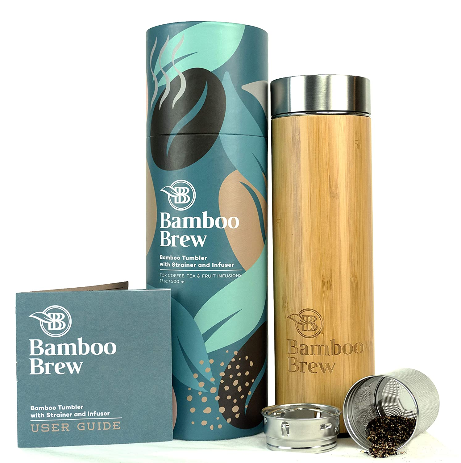 Bamboo Tumbler with Infuser & Strainer 17oz | Stainless Steel Coffee & Tea Flask | Double Wall Vacuum Insulated Travel Mug | Loose Leaf Detox Brew & Fruit Infusions | Brand New Gorgeous Packaging